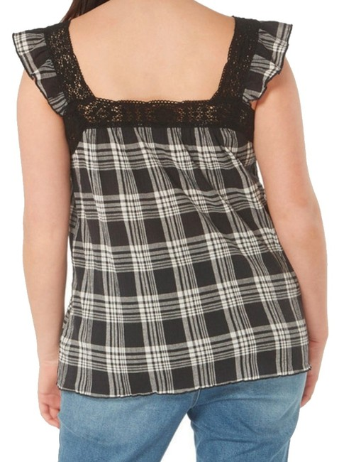 Evans Crinkly Cotton Ruffly Cap Sleeves Lace Trim Neck Classic Plaid Top Black Grey Image 2