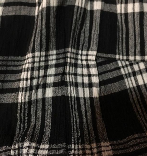 Evans Crinkly Cotton Ruffly Cap Sleeves Lace Trim Neck Classic Plaid Top Black Grey Image 3
