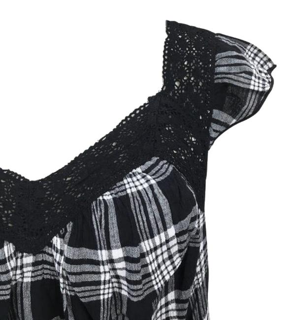 Evans Crinkly Cotton Ruffly Cap Sleeves Lace Trim Neck Classic Plaid Top Black Grey Image 5