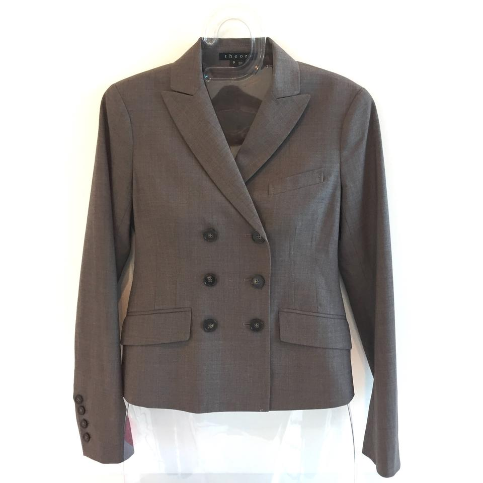 ce40bff4209 Theory Brown Double-breasted with Ribbon Detail Skirt Suit Size 0 (XS) 88%  off retail