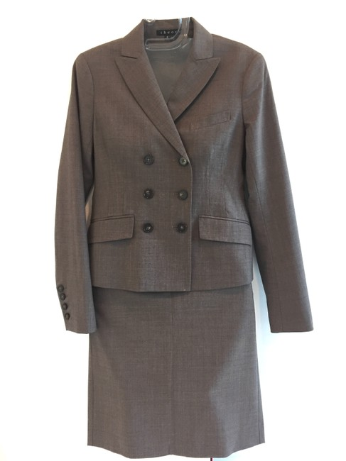 Theory Double-breasted skirt suit with ribbon detail Image 3