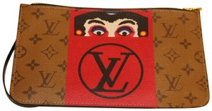 Louis Vuitton Pouch Clutch Limited Neverfull Kabuki Wristlet in Reverse Brown