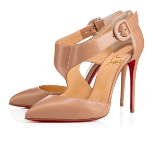 Christian Louboutin Sharpeta Stiletto Pigalle Ankle Strap Crisscross Strap nude Pumps