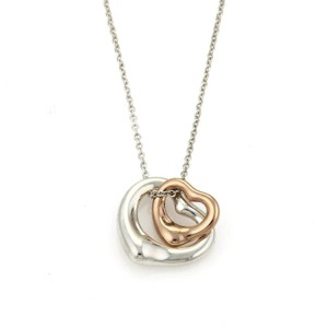 Tiffany & Co. Peretti Sterling 18k Rose Gold Double Open Heart Pendant Necklace