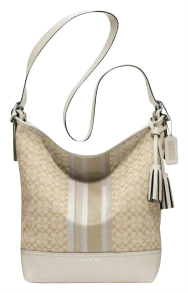 f168d00503 Coach Light Khaki Parchment Legacy Signature Stripe Duffle White Cross Body  Bag