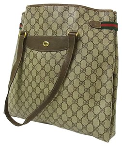 Gucci Interior Pockets Great For Everyday Excellent Vintage Tote in leather & large G logo print coated canvas in shades of brown