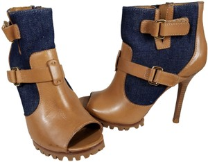 Tory Burch Ankle Strap Sporty Canvas Leather royal blue/Tan Boots