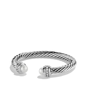 David Yurman Pearl Cable Clics With And Diamonds 7mm Bracelet