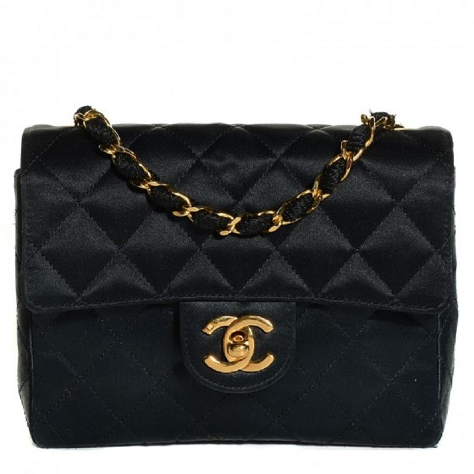 948ff7421f85 Chanel 2.55 Reissue Classic Mini Flap Cc Logo Small Square Crossbody Quilted  Black Gold Satin Shoulder Bag
