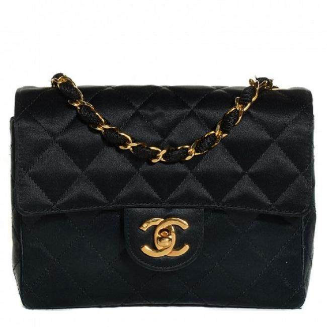 Chanel 2.55 Reissue Crossbody Classic Mini Flap Cc Logo Small Square Quilted Black Gold Satin Shoulder Bag Image 1