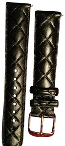 Michele Michele black quilted leather 18 mm deco csx caber watch band
