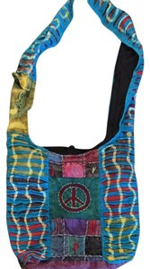 Rising International Hippie Embleshments Flowers Peace Hobo Bag