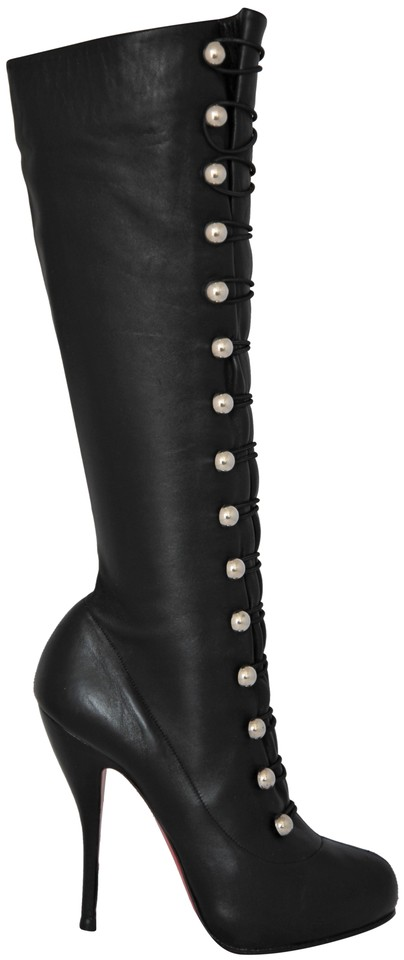 d9de8d175d1 Christian Louboutin Black Silver Buttons Alta Fifre Leather Corset Platform  Knee High Heel Lady Red Sole Italy Boots/Booties Size EU 39 (Approx. US 9)  ...