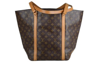 Louis Vuitton Leather Shopping Shoulder Tote in Brown