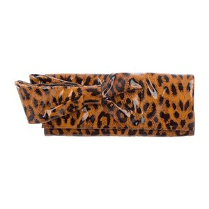 Christian Louboutin brown and black leopard print Clutch