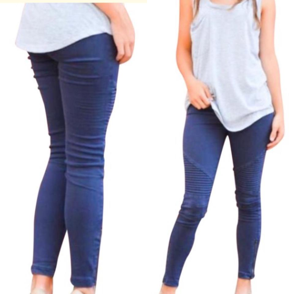 12b7a66943d67 Navy Medium Wash Xl Moto with Ankle Zipper Skinny Jeggings Size 16 ...