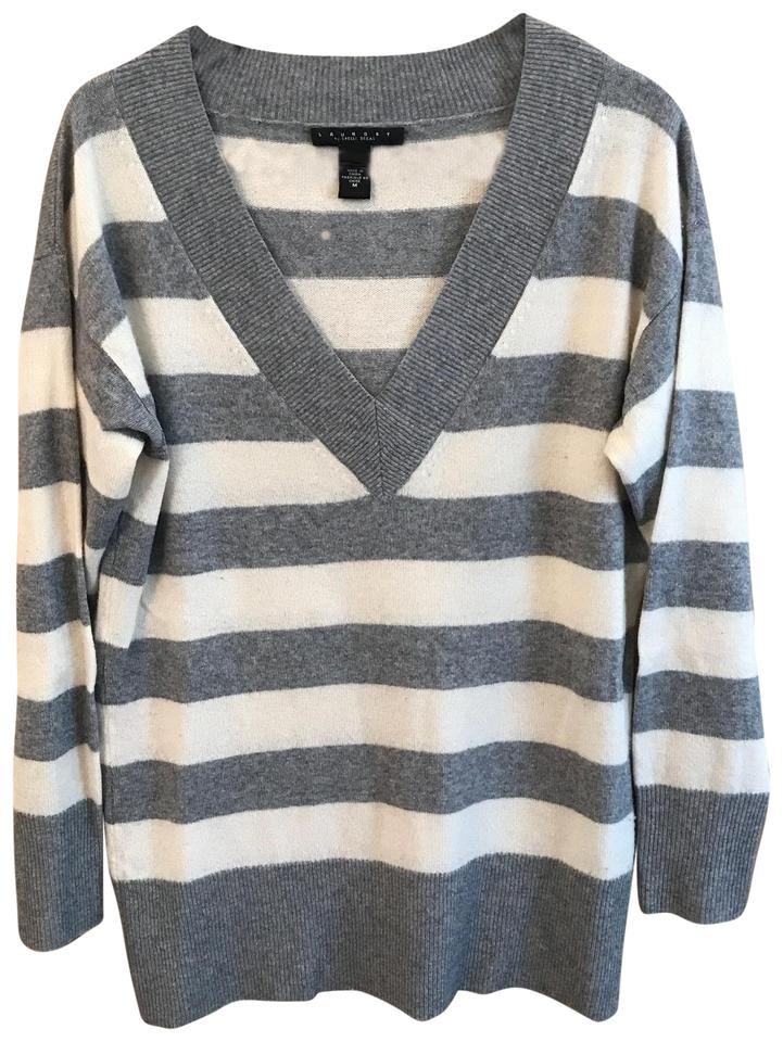 Laundry by Shelli Segal Striped Cashmere Gray and White ...