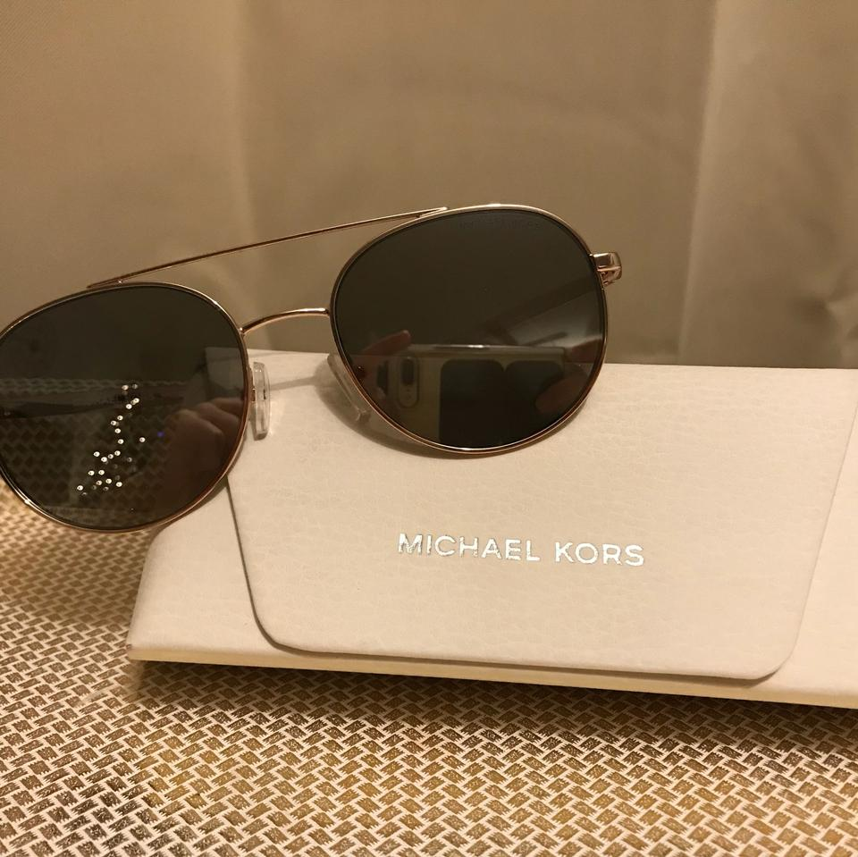 78d142d33a05 Michael Kors Mk Lon Rounded Aviator Silver with Rosegold Hardware ...