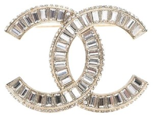 Chanel New!! Chanel Light Gold Tone Large Cc Logo Crystal Brooch