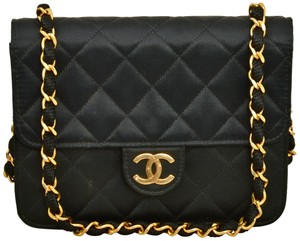 Chanel Quilted Single Flap Clutch Satin Shoulder Bag