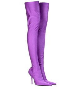Balenciaga Knife Thigh High Otk Stretchy purple Boots