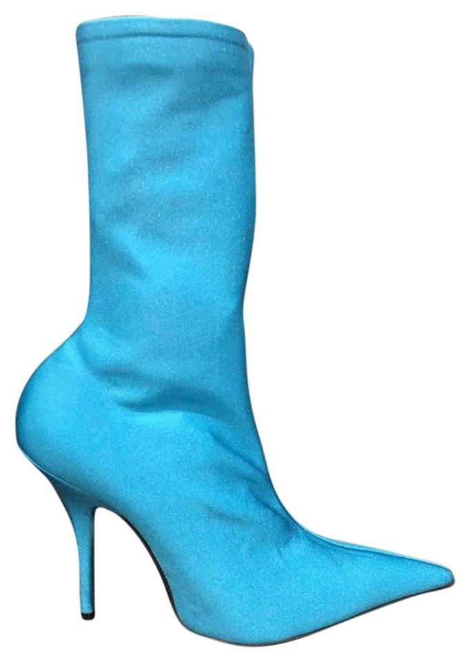 576d4173341 Balenciaga Blue Knife Stretch Turquoise Crepe Jersey Spandex Ankle Boots  Booties. Size  EU 39 (Approx. US 9) ...