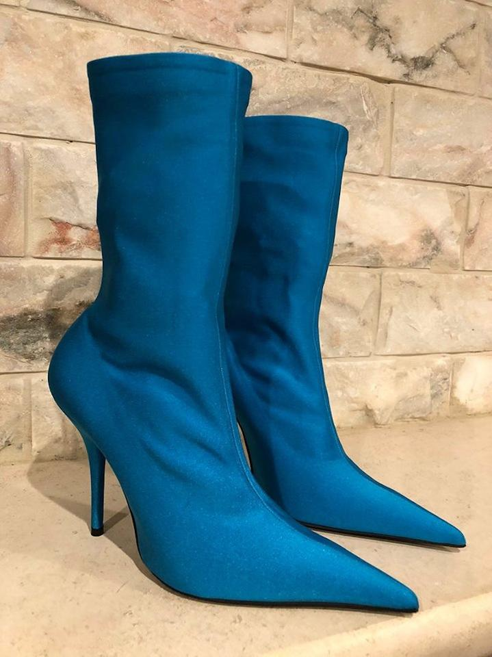 e642092803a Balenciaga Blue Knife Stretch Turquoise Crepe Jersey Spandex Ankle Boots Booties  Size EU 39 (Approx. US 9) Regular (M
