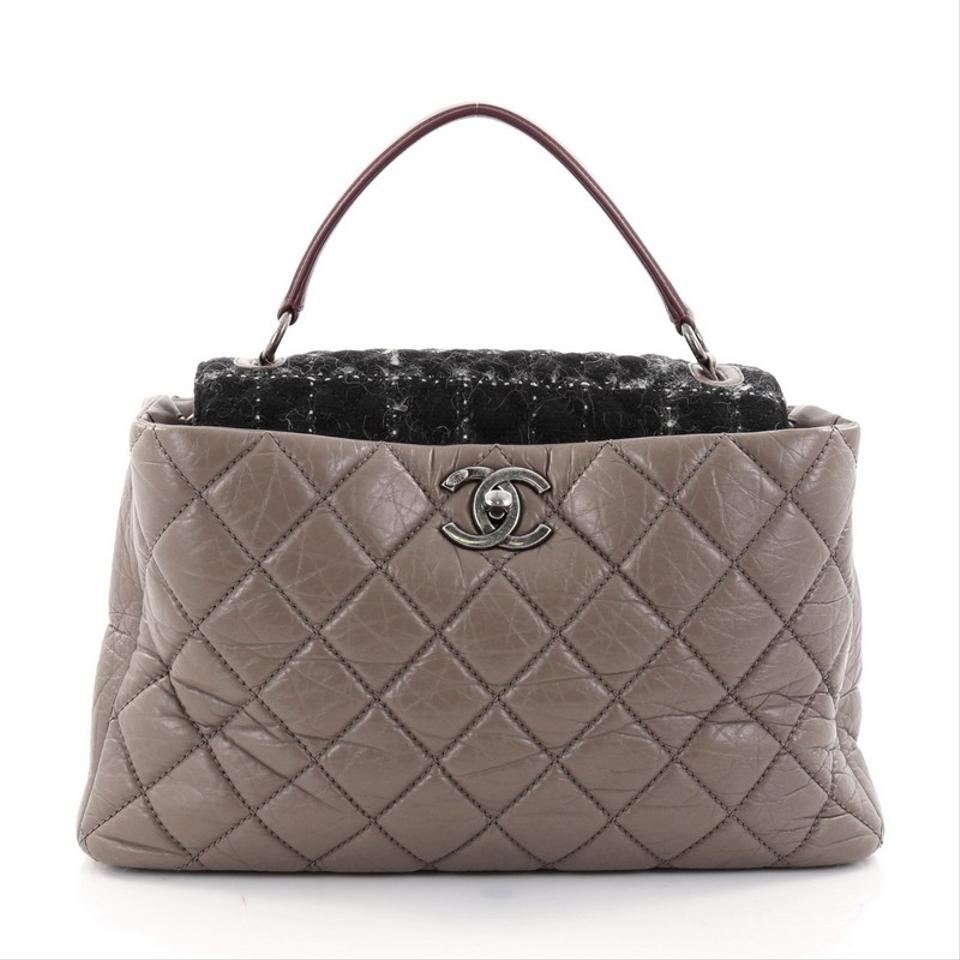 e42268c570aa Chanel Portobello Top Handle Quilted Aged and Tweed Large Brown ...