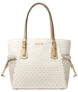 Michael Kors Leather Voyager Leather Signature Tote in Vanilla