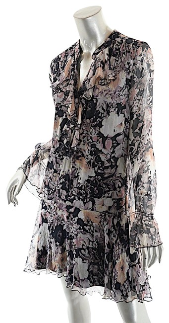 Item - Paris Black Multi Silk Floral Flounced Short Night Out Dress Size 8 (M)