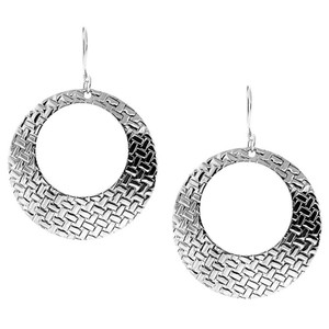 NY Collection Womens Weave Cut Out Pattern Drop Circle Hook Earrings Sterling Silver