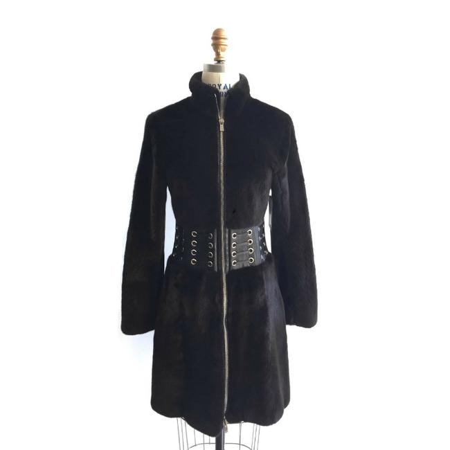 Item - Dark Brown Mink with Leather Detail Coat Size 2 (XS)