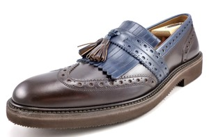 Salvatore Ferragamo Brown & Blue Men's Leather Wingtip Loafers Shoes