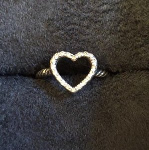 David Yurman Pav diamond silver cable open heart ring