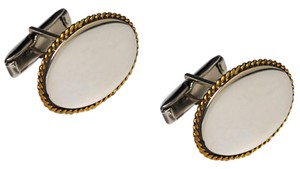 NY Collection Mens Vintage Oval Cuff Links Sterling Silver Yellow Gold Edges