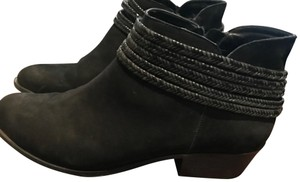 BCBGeneration Braided Cord Detail Nubuck Leather Ankle Black Boots