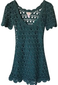 Plenty by Tracy Reese short dress Teal Drop Waist Detail Crochet Boho Scalloped on Tradesy