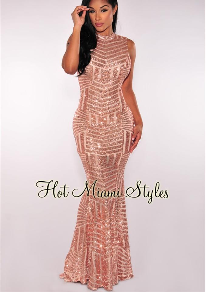 Hot Miami Styles Rose Gold Sequins Open Back Maxi Gown Long Formal ...