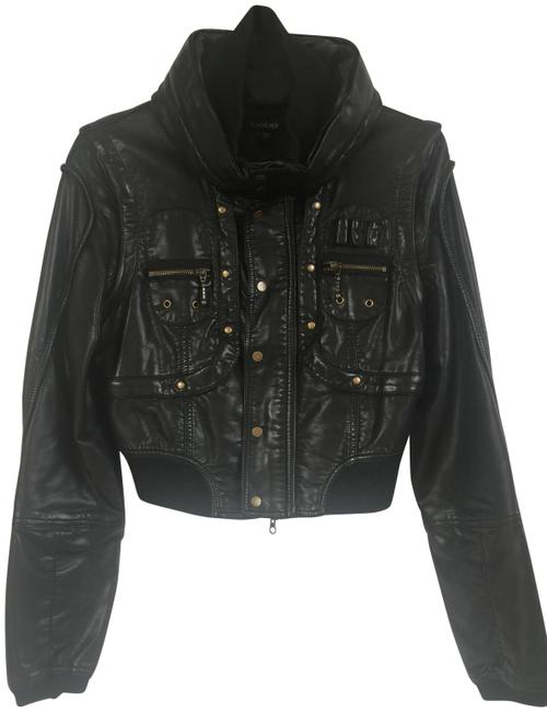 bebe Zipper Cropped Motorcycle Jacket