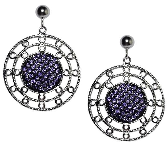 Preload https://item5.tradesy.com/images/two-tone-womens-purple-cz-art-deco-round-circle-dangle-sterling-silver-earrings-22686089-0-1.jpg?width=440&height=440
