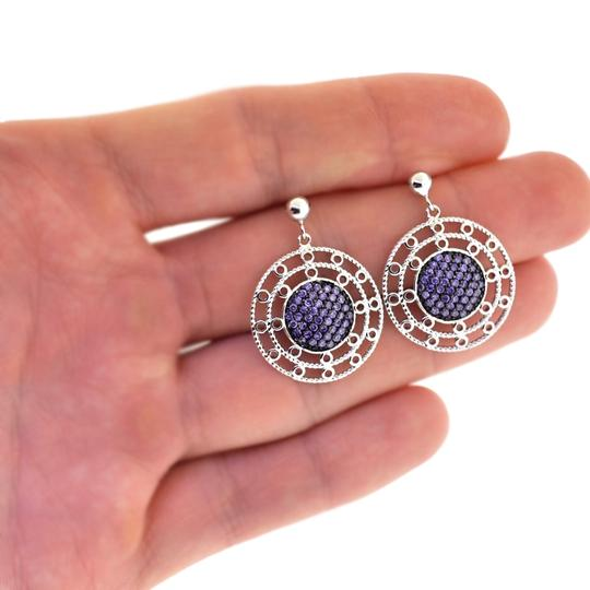 EDS Womens Purple CZ Art Deco Round Circle Dangle Earrings Sterling SIlver