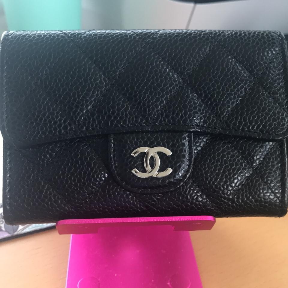 ac82d81efbe909 Chanel Chanel Black Caviar Leather O Card Case Mini Cardholder Wallet - Silver  hardware Image 0 ...