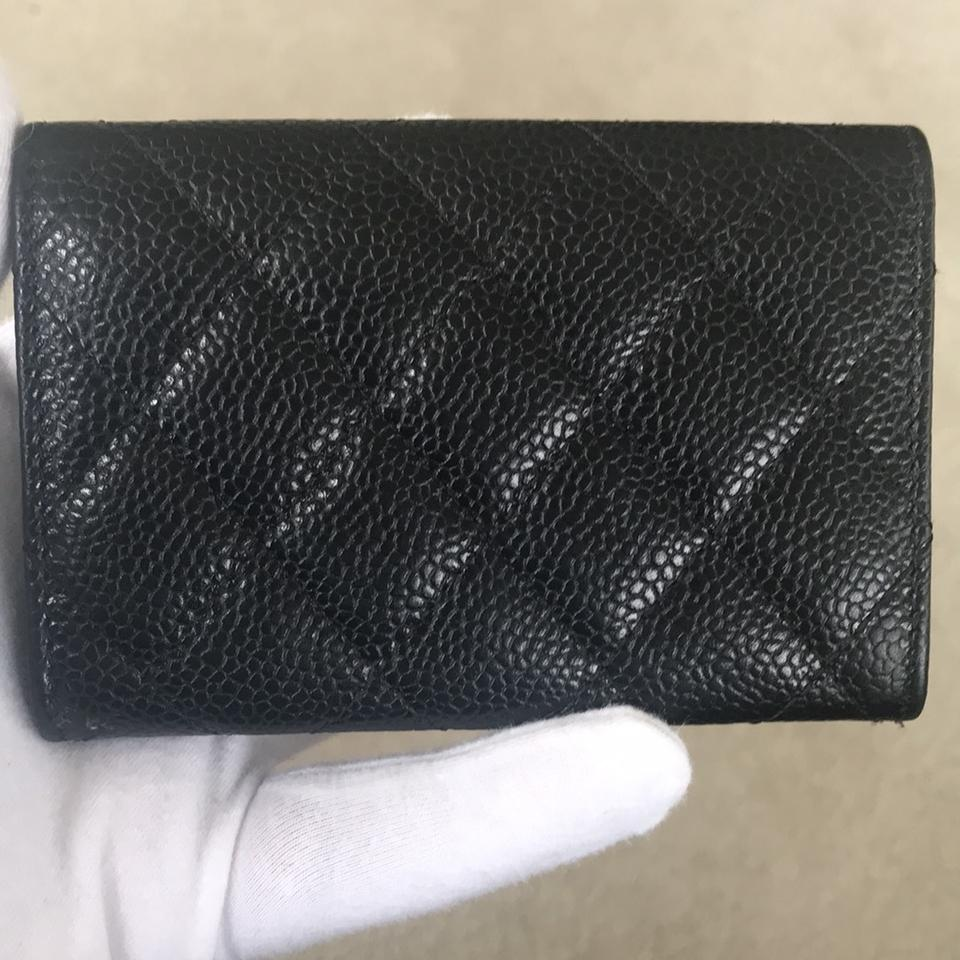 3d49aacd466e Chanel Chanel Black Caviar Leather O Card Case Mini Cardholder Wallet - Silver  hardware Image 11. 123456789101112