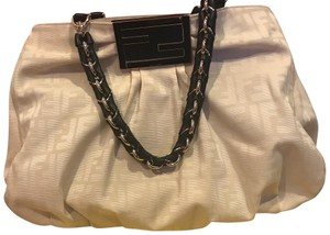 Fendi Satchel in Beige with black leather and gold chain