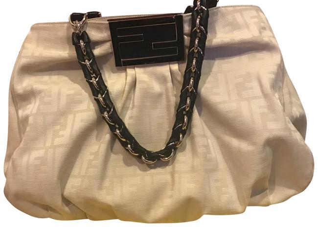 Fendi Beige with Black Leather and Gold Chain Canvas Handles Satchel Fendi Beige with Black Leather and Gold Chain Canvas Handles Satchel Image 1