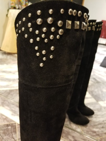 Pittarello Studded Suede Overtheknee Embellished Black Boots