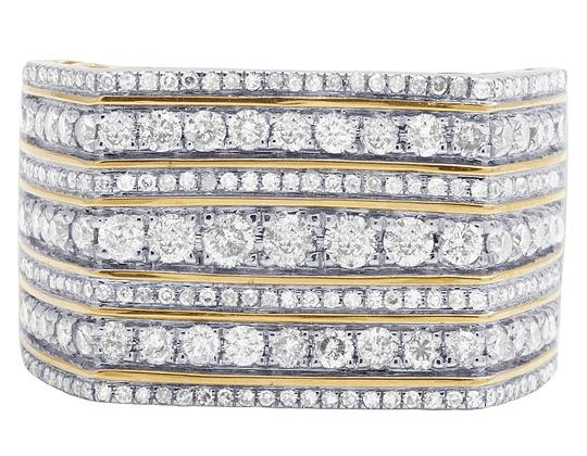 Jewelry Unlimited Mens 10K Yellow Gold 7 Row Diamond Engagement Wedding Band Ring 2CT