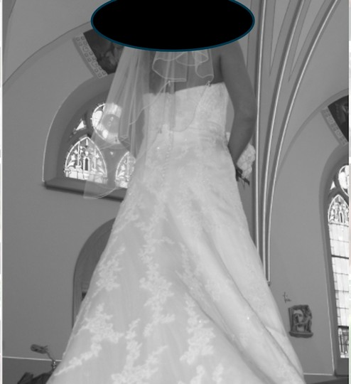 White Luxe Satin with Netting and Bead Lace Style #1769 Traditional Wedding Dress Size 6 (S)
