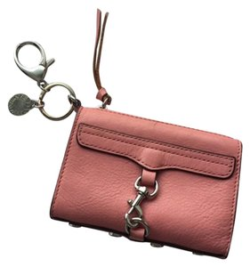 Rebecca Minkoff Leather Key Fob Keychain Coin Case Coin Purse Wristlet in Peach