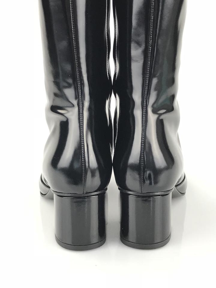 82af78a6b83 Gucci Black Lillian Shiny Leather Boots Booties Size EU 39 (Approx ...